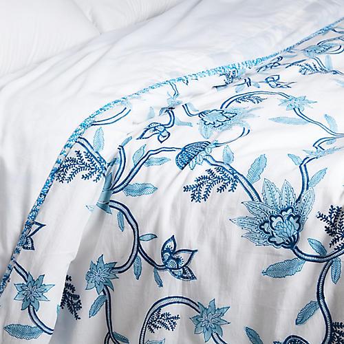 Suki Flora Doha Duvet Cover, Blue