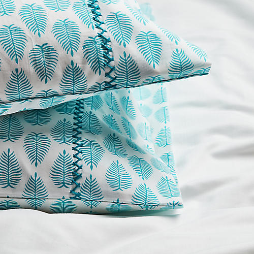 S/2 Cypress Pillowcases, Aqua