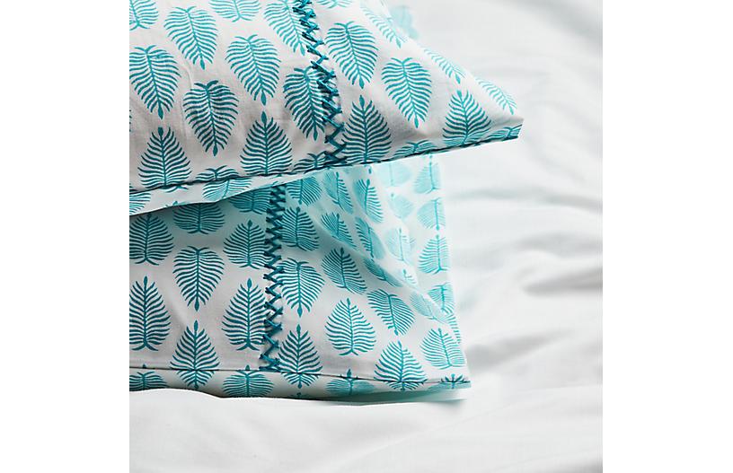 S/2 Cypress Pillowcases, Aqua