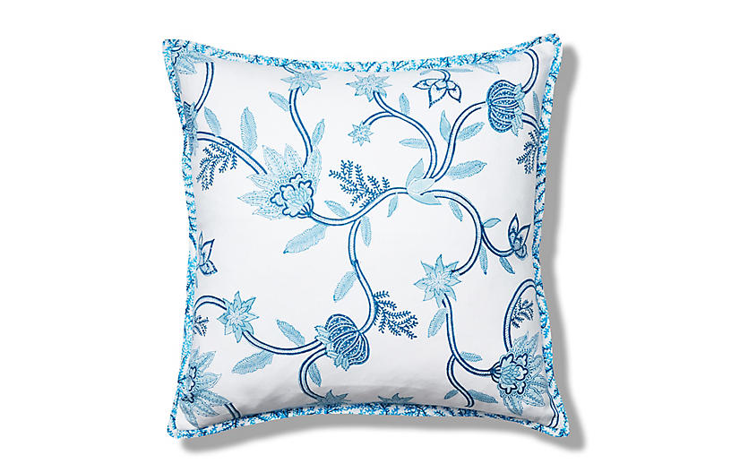Suki Flora Pillow Cover, Blue