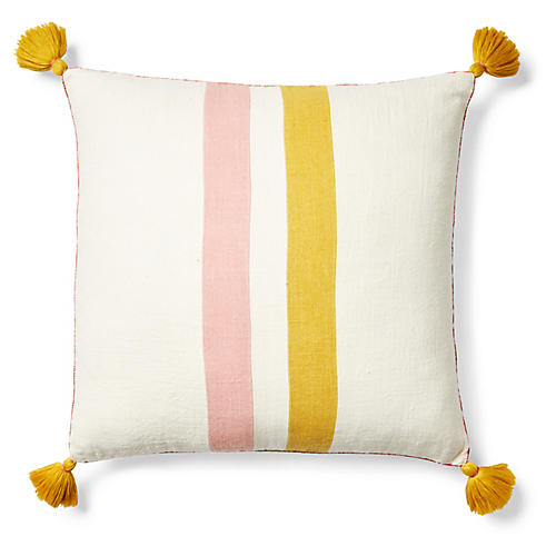 Striped Applique Pillow Cover, Yellow