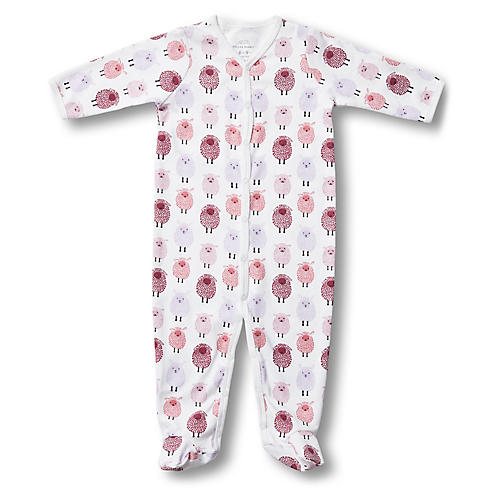 Woolies Footie Pima Cotton Pajamas, Berry
