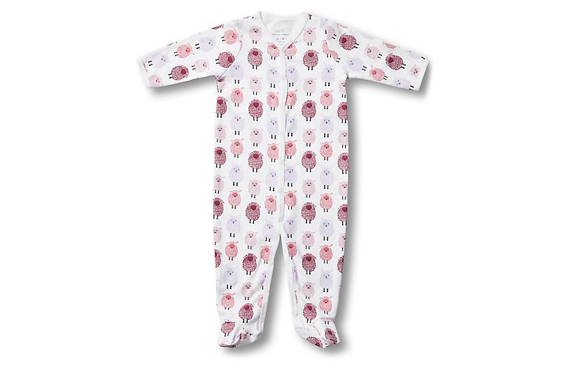 Woolies Footie Pima Cotton Pajamas, Berry
