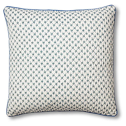 Sma Quilted Pillow Cover, Slate/Cypress