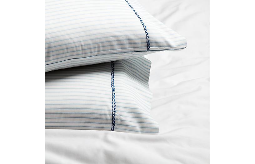 S/2 Ticking Air Pillowcases, White/Blue