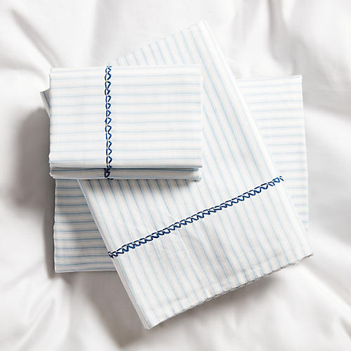 Ticking Air Sheet Set, White/Blue