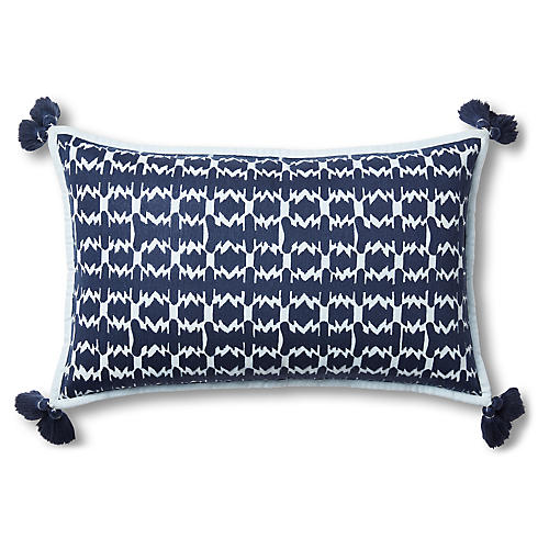 Vindue Embroidered Lumbar Pillow, Slate/Sky