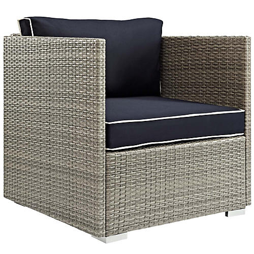 Repose Club Chair, Navy Sunbrella