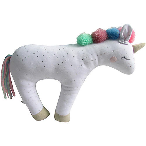 Sleeping Unicorn Plush Toy, White/Multi