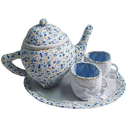 Bossy Plush Tea Set, Blue