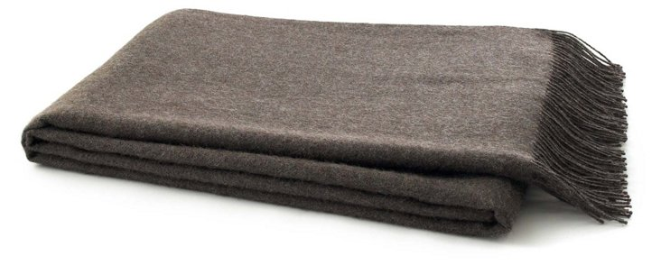Solid Alpaca Throw, Smoky Heather
