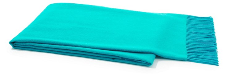 Herringbone Alpaca Throw, Bright Teal