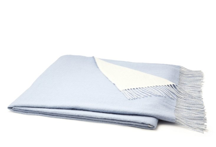 Reversible Classic Throw, Blue/Ivory
