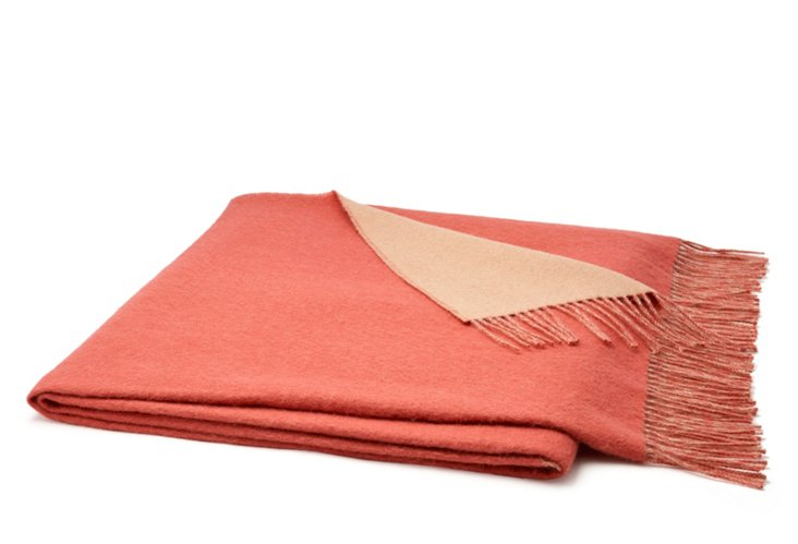 Reversible Classic Throw, Coral/Beige