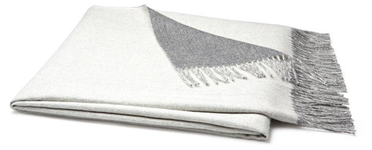Reversible Alpaca Throw, Gray/Ivory