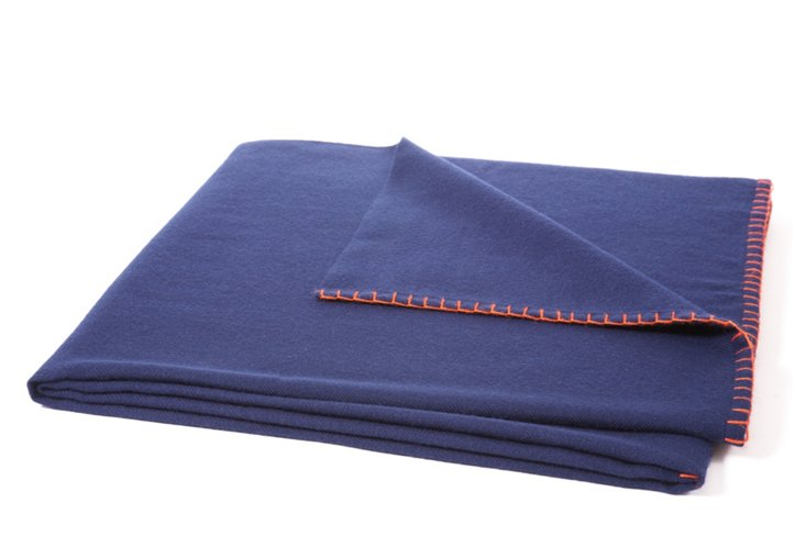Week-Ender Throw, Navy/Orange