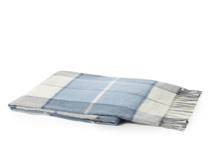 Alastar Alpaca Throw, Blue