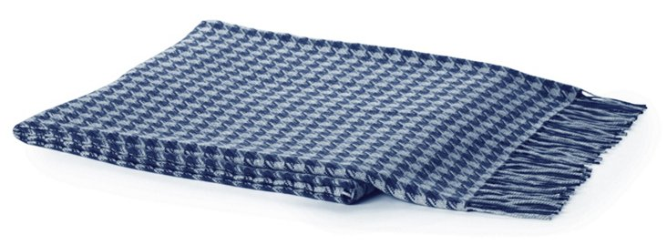 Houndstooth Alpaca Throw, Navy