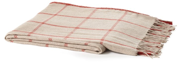 Griffin Alpaca Throw, Taupe/Red