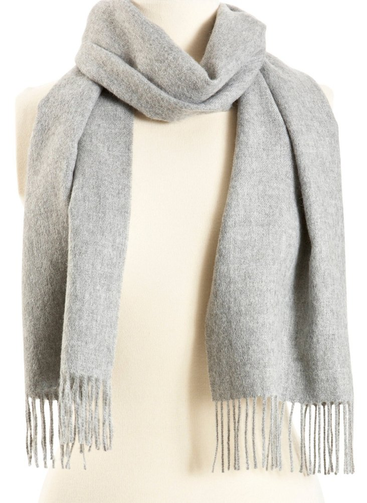 Solid Alpaca Scarf, Light Gray