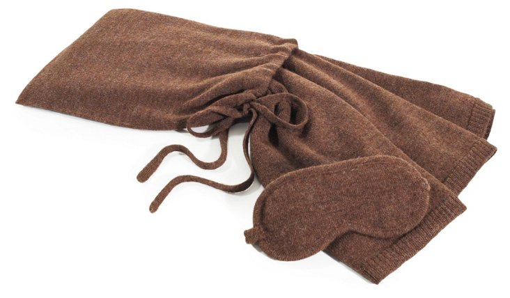 Alpaca-Blend Travel Set, Brown