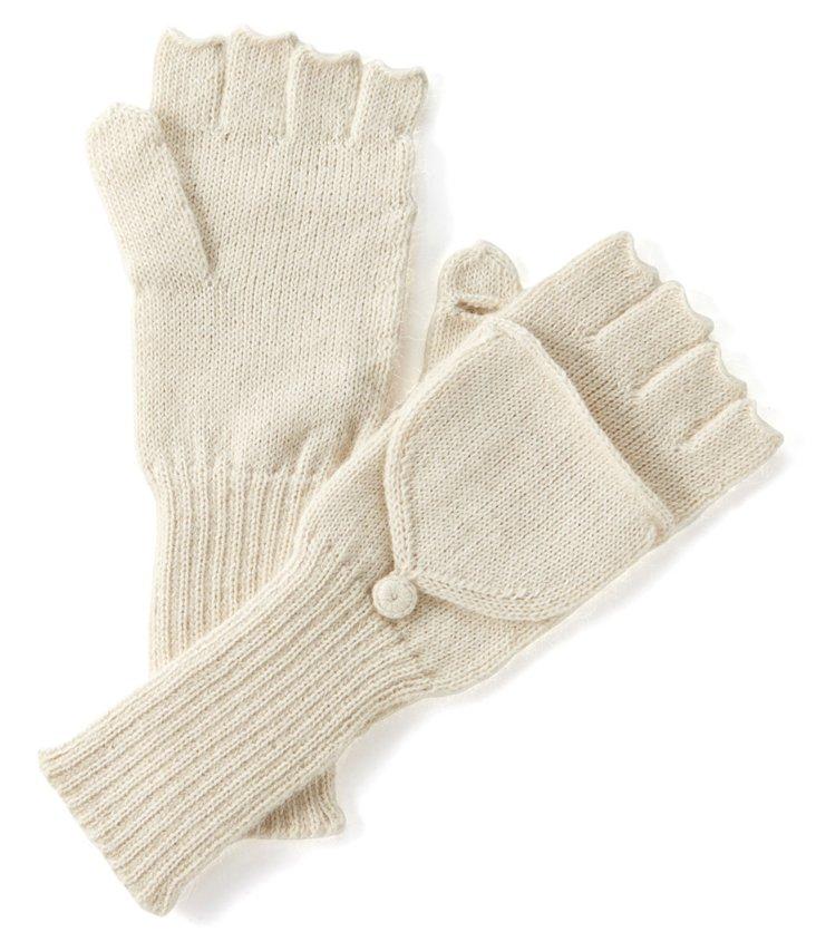 Fingerless Alpaca Gloves, Ivory