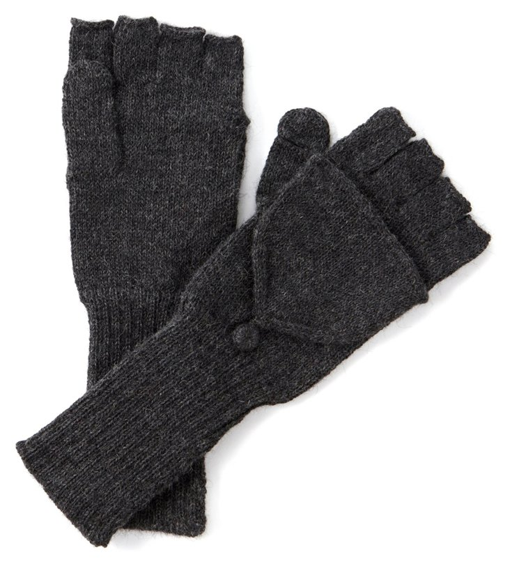 Fingerless Alpaca Gloves, Charcoal