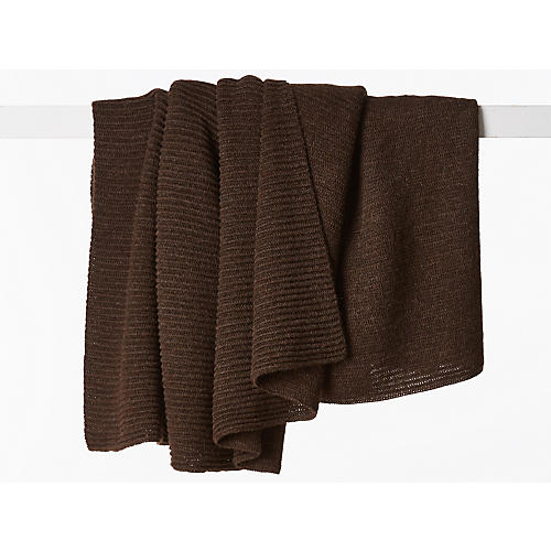 Jettson Alpaca Wool Throw, Chocolate