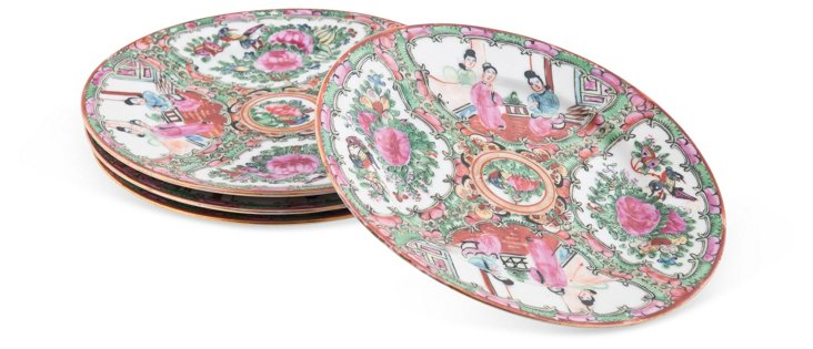 Antique Famille Rose Plates, Set of 4, I