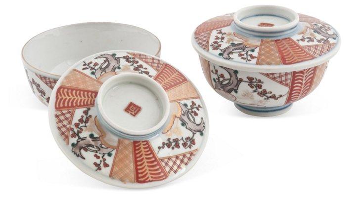 Antique Imari Bowls w/ Covers, Pair