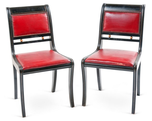 1950s Red Leather Chairs, Pair