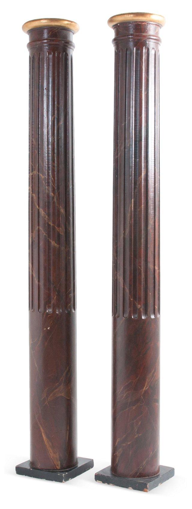 Large Painted Columns, Pair
