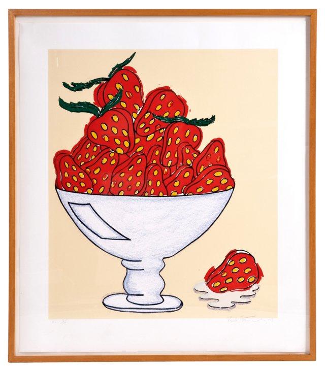 Large Framed Print of Strawberries