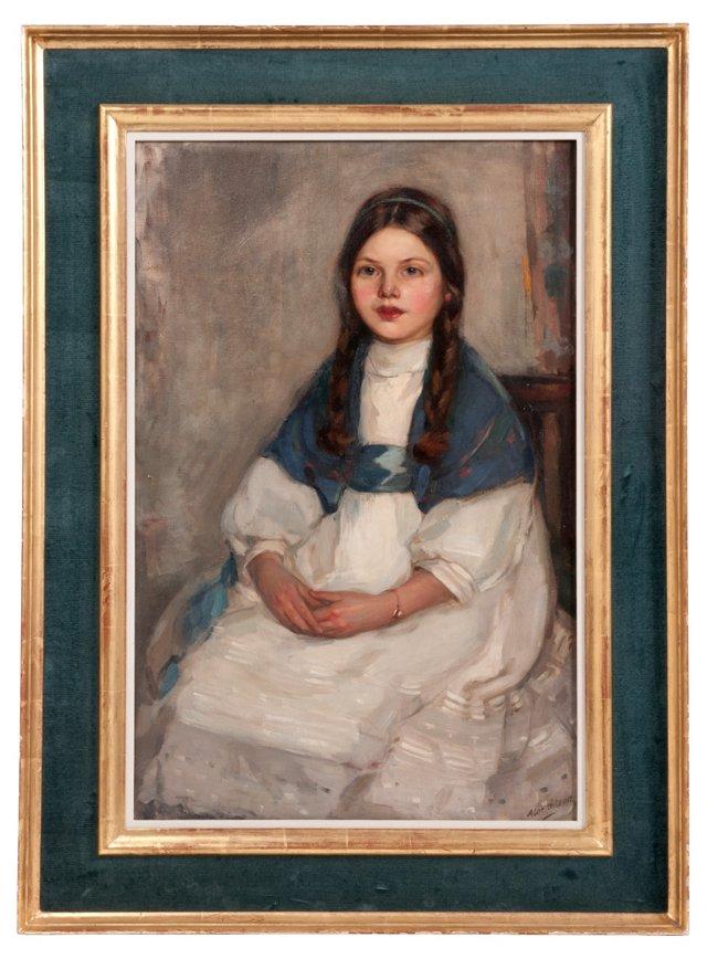 Antique Framed Portrait of a Girl