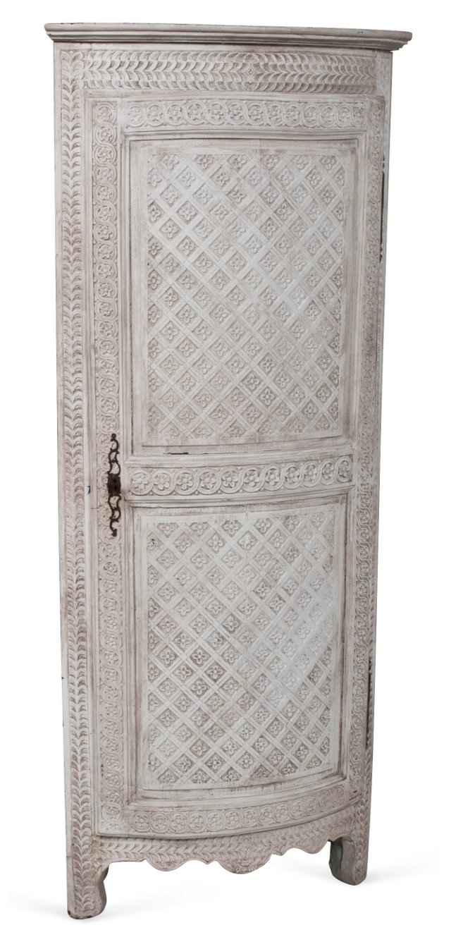 Carved & Painted Corner Cabinet