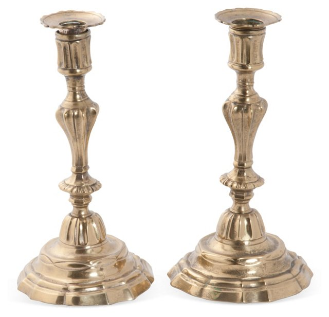 18th-C. Brass Candlesticks, Pair