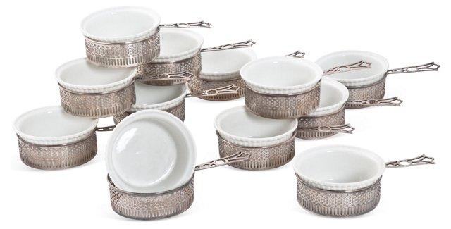 Sterling Ramekin Holders, Set of 12