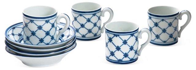 Blue & White Demitasses & Saucers, S/4