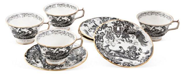 English Bone China Cups & Saucers, S/4