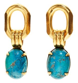 Elizabeth Cole Turquoise Oval Drops