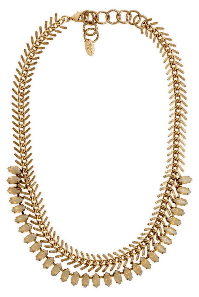 Fishbone Chain Necklace w/ Sand Crystals
