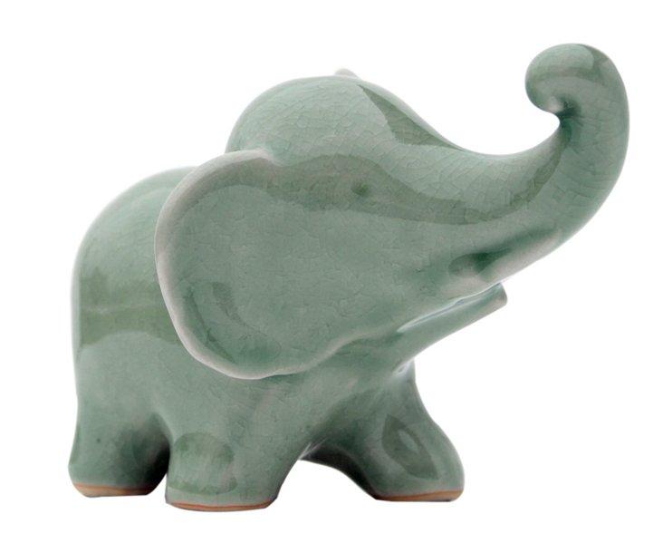 Ceramic Walking Elephant, Green