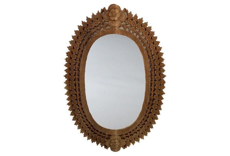 Carved Teak Oval Frame