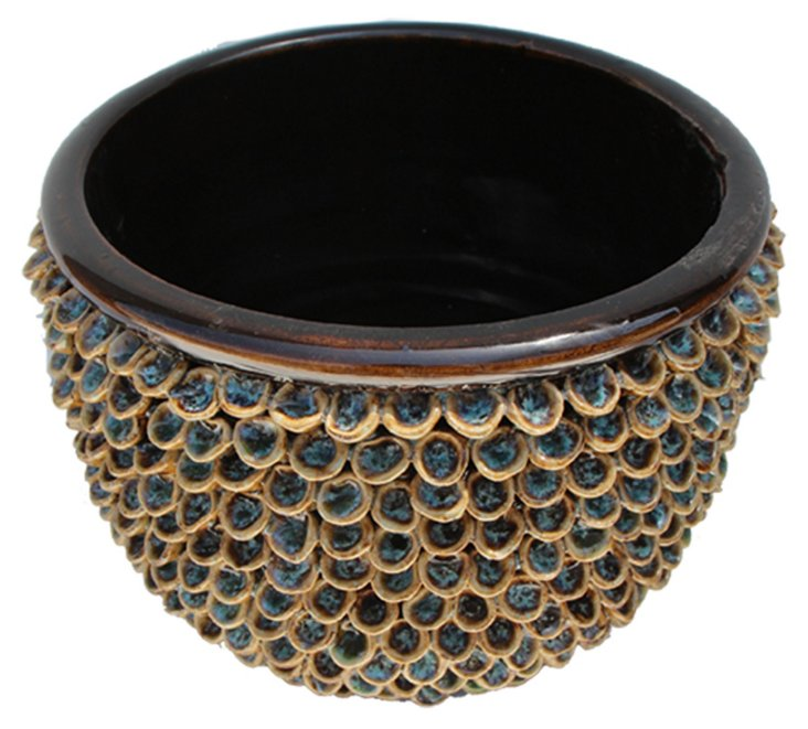 "11"" Isla Ceramic Shell Bowl, Blue/Brown"