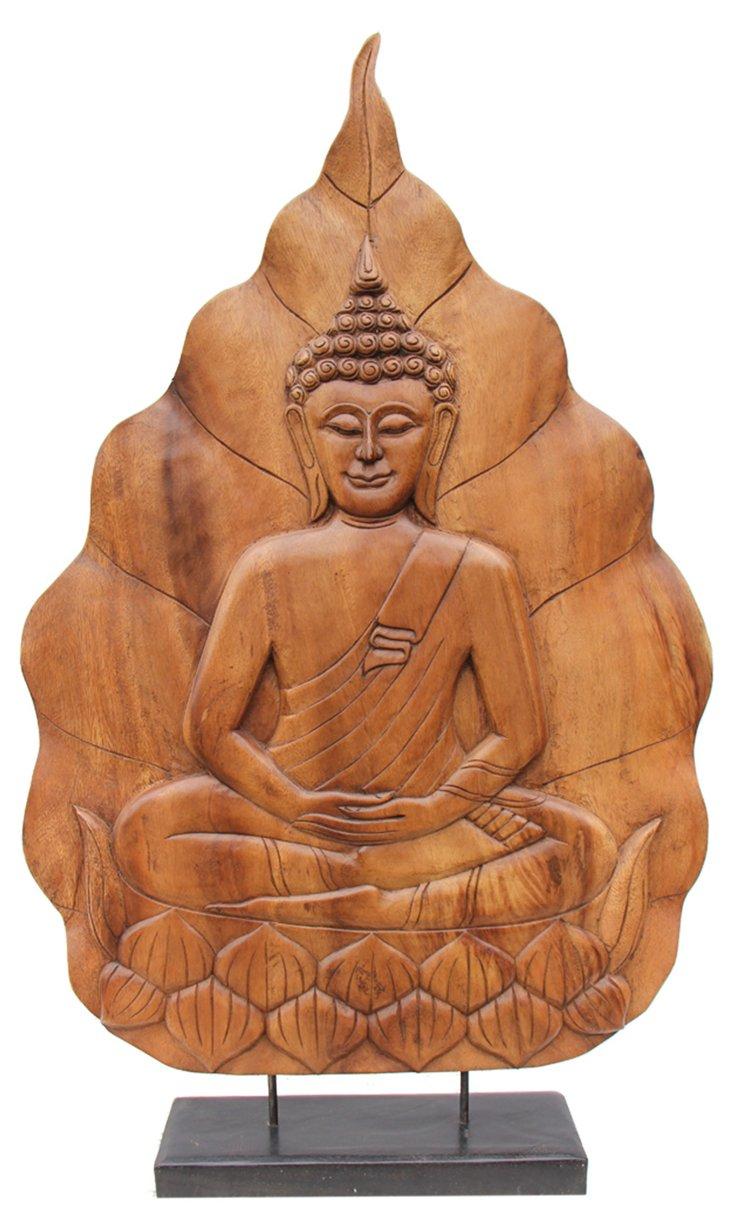 """39"""" Buddha on Lotus, Brown"""