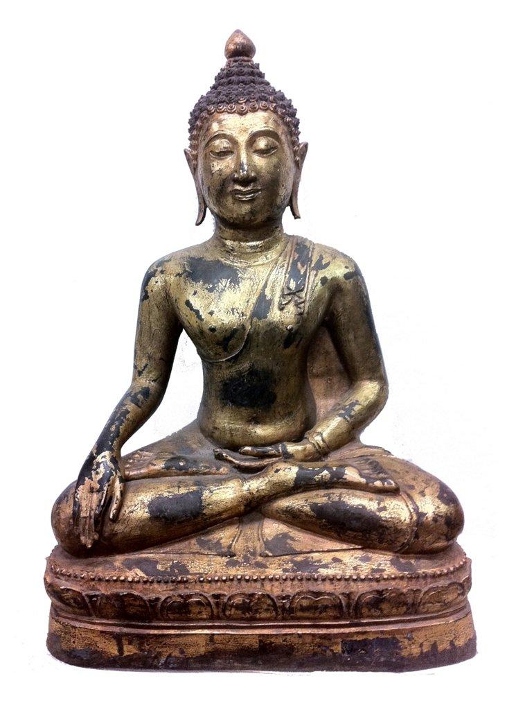 Chiang Saen Thai Buddha, Aged Bronze/Gold
