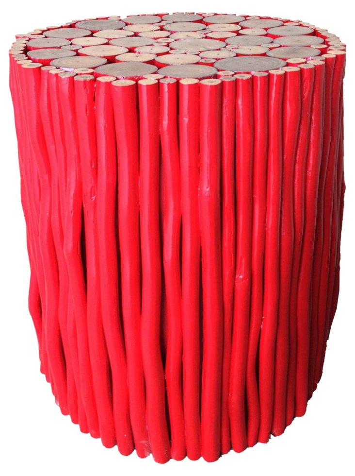 Maiyalap Wood Stool, Red