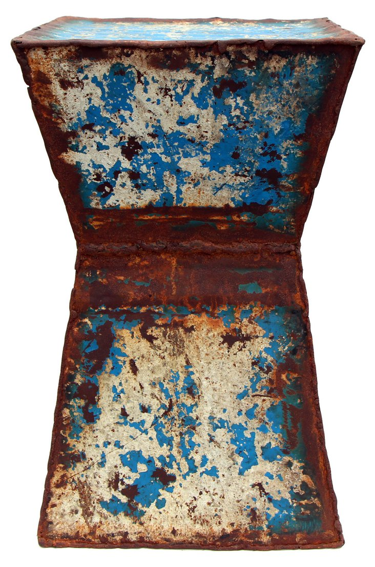 Orleans Stool, Rusty White/Blue