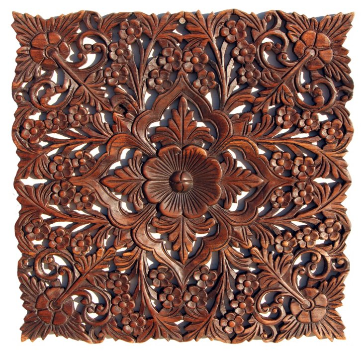 "18"" Square Carved Panel, Dark Teak"