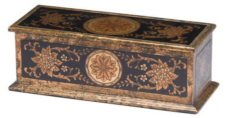 Reverse Painted Floral Design Box